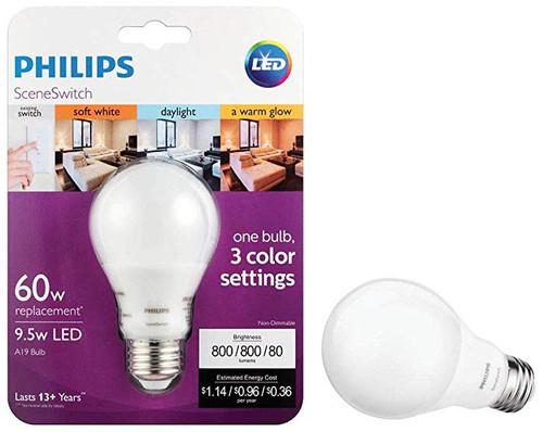 60W Equivalent Daylight/Soft White/Warm Glow SceneSwitch A19 LED Light Bulb