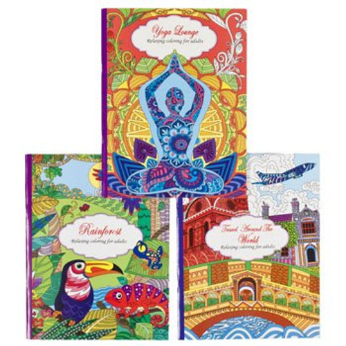 Set of 3 Adult Coloring Books! Yoga, Rain forest, and Travel Around the World!