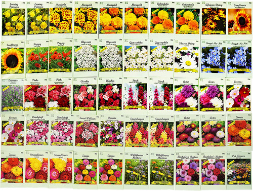Set of 50 Assorted Valley Green Flower Seed Packets! Flower Seeds in Bulk
