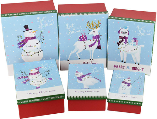 Snowy Themed Nesting Gift Boxes