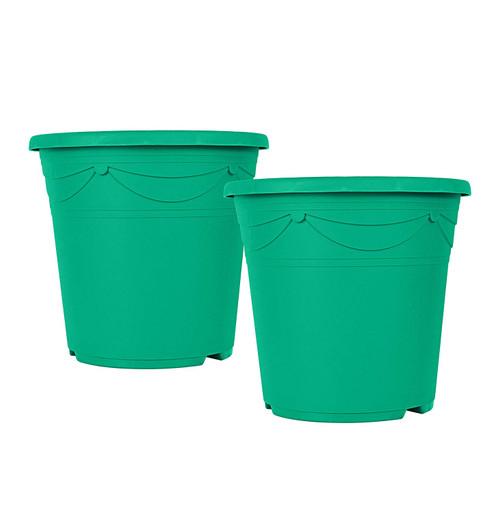 """Set of 2 Green Plastic 9"""" X 8"""" - Pot/Planter"""