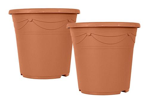 "Set of 2 Terra Cotta Plastic 9"" X 8"" - Pot/Planter"
