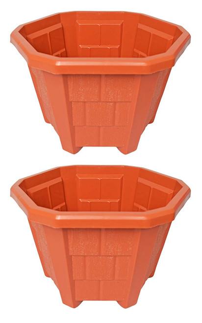 "Set of 2 Plastic Planters! Hexagonal Planters! Measures 9.5""x 8""h"