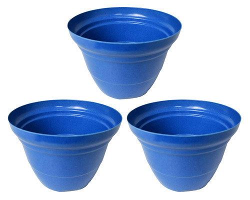 Set of 3 Royal Blue Round Woven Bamboo Planters! Measures -7inx5in