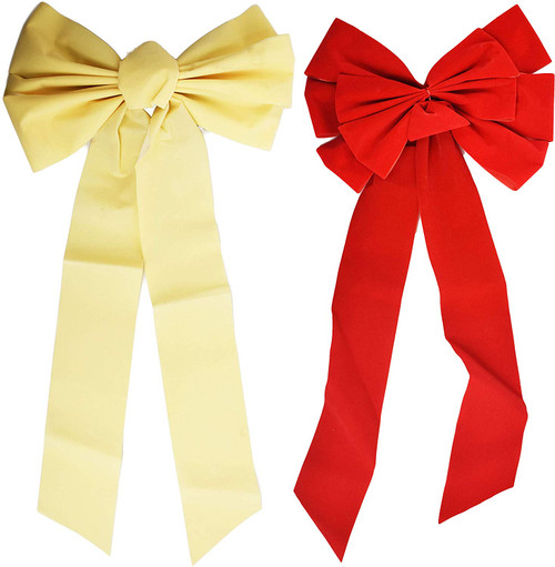 Cream and Red Extra Large Holiday Bows - Great for Decorating Around the Home!