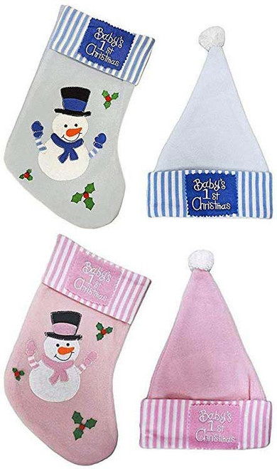 Baby's First Christmas Stocking and Hat Keepsake Set