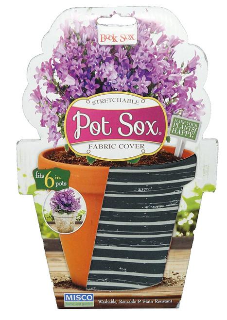 """Set of 2-10"""" Resene Teal Striped Design Home and Garden Modern Pot Sox Flowerpot Covers"""
