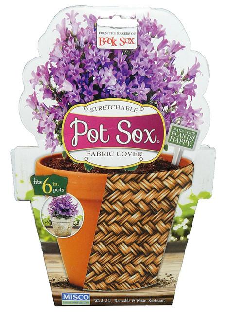 """Set of 2-8"""" Wicker Design Home and Garden Modern Pot Sox Flowerpot Covers"""
