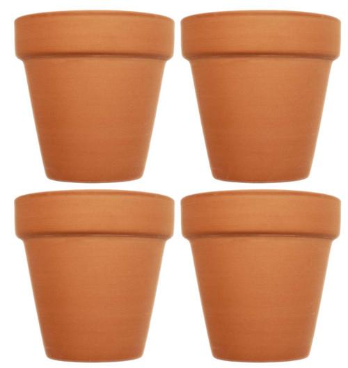 "Set of 4 Mini Flower Pots - 2.5"" x 2.5"" Terra Cotta Pots - 2.5""x2.5"""