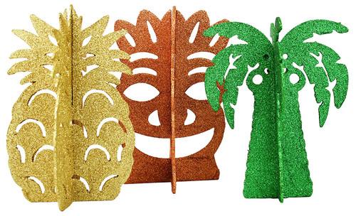 Set of 3 Hawaiian Luau Party Centerpieces - 3D Glitter Table Decor