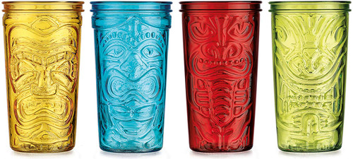 Set of 20oz Glass Tiki Cups! - Great for parties, gifts, bars, or everyday use!