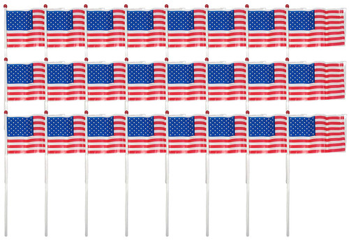 """Set of 24 Plastic Patriotic American Flags! 6""""x4"""""""