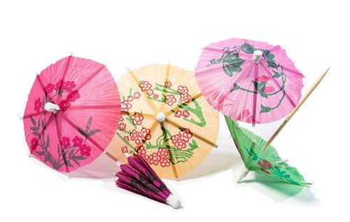 Set of 48 Assorted Colors / Designs Drink Umbrellas