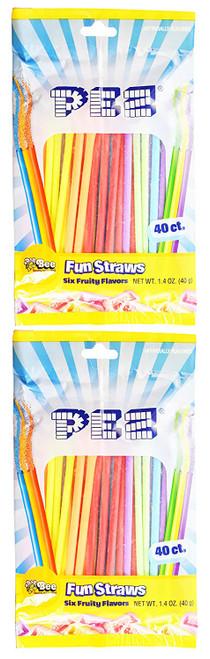 Set of 80 PEZ Fun Straws - Cherry, Orange, Lemon, Apple, Raspberry, and Grape!