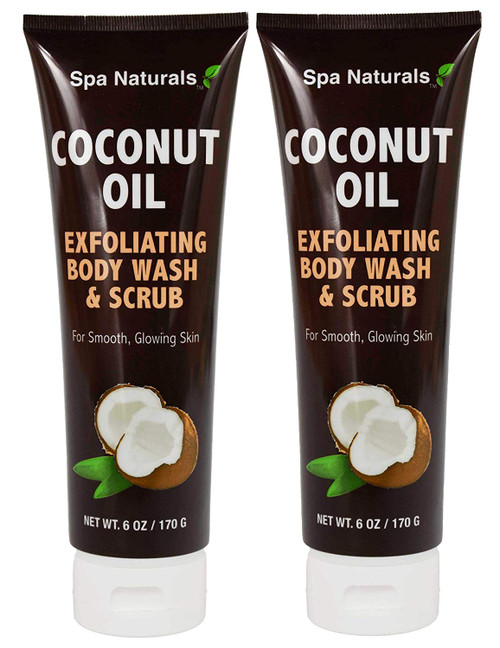 Set of 2 Coconut Oil Exfoliating Body Wash and Scrub For Smooth, Glowing Skin!