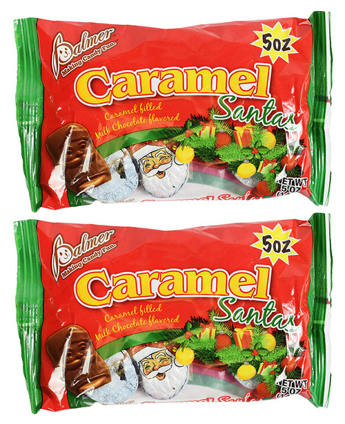 Caramel Filled Chocolate Santa - Individual Wrapped - Made in the USA