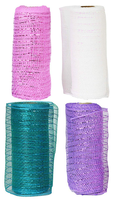 """Set of 4 Decorative Mesh Rolls! 4 Assorted Easter Themed Colors! - 6"""" Wide x 5 Yards Long! Great for Easter Wreath, Floral Arrangements, Easter Party Decorating!"""