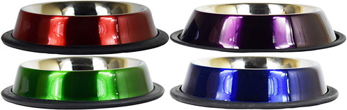 Set of Colored Stainless Steal Anti-Skid Pet Bowls! 8oz Pet Bowls Ideal for Home and Travel