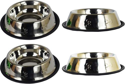 Set of 4 Embossed Stainless Steel Anti-Skid Pet Bowls! 32oz Pet Bowls ~ Paw & Bone Theme!