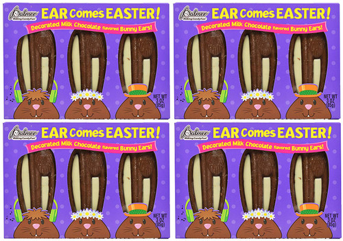 Set of 12 Decorated Milk Chocolate Flavored Bunny Ears - Ear Comes Easter! - Great for Giving out During Easter - Sure to Please Kids and Adults Alike!
