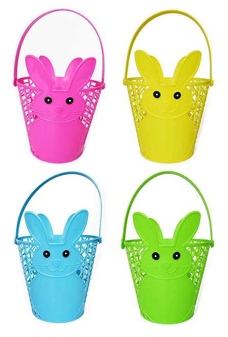 Set of 4 Easter Bunny Baskets! Perfect for Decor and Gifts! Comes in 5 Fun Colors!