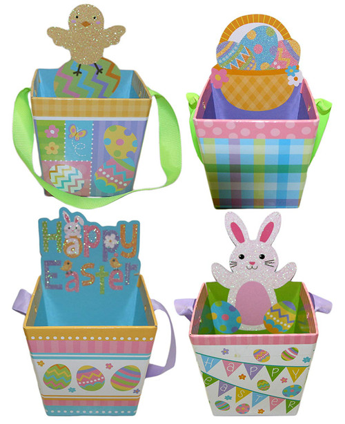 """Set of 4 Easter Pails! - 4""""x3.75""""x3"""" - Happy Easter, Easter Chick, Easter Bunny, and Easter Eggs! Adorable Decorative Easter Pails Perfect for Easter Egg Hunting or Gift Giving!"""
