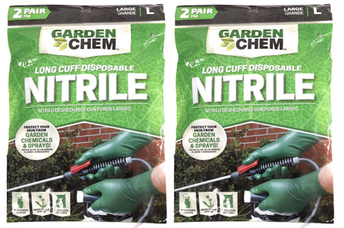 Set of 4 Long Cuff Disposable Nitrile Gloves - Protection from Pesticides, Cleaners, Fertilizers, Weed Killers, Rodent Control, Fungus Killers (2 Pairs)