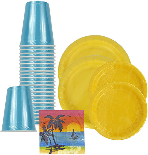 """Set of 80 Summer Party Plates, Napkins, and Cups! 9oz Cups - 8.75"""" Large Plates - 6.87"""" Small Plates - 9.8""""x9.75"""" Small Napkins (Unfolded) - Premium Strength Plates!"""