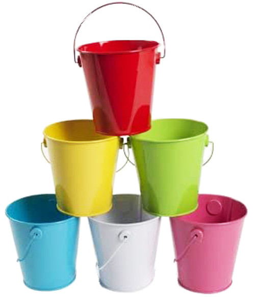"""Set of 6 Tin 4"""" Metal Bucket Useful for Cleaning - Tools - Beach Days - Decorations and More! Perfect for Any Job Around The House or in The Yard!"""
