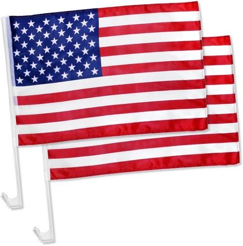 """Pack of 2 US American Patriotic Car Window Clip on USA Flag 17"""" x 12"""""""