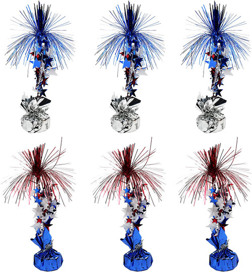 """Set of 6 Patriotic Centerpieces! 12"""" Balloon Weight Centerpieces - 2 Assorted Styles - Silver/Red/and Blue, and Silver/Blue"""