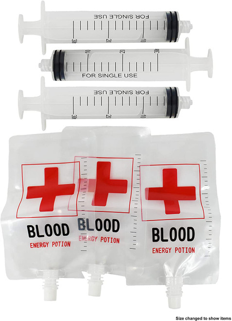 Set of Halloween Novelty Shot Glasses - Blood Bags & Syringes - Black Duck Brand - Great For Super Spooky Parties!