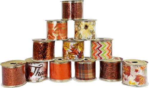 Set of Fall/Autumn Themed Wire Ribbons - Leaves, Pumpkin, Glitter, Acorns, Thanksgiving Theme - Great for Bringing The Season Inside The Classroom or Home