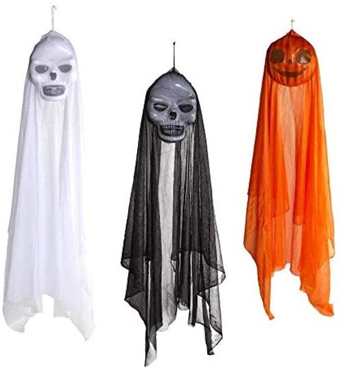 Hanging Halloween Decor - Ghost, Ghoul, Pumpkin - 4 Foot Long Hanging Creepy Face Decorations! - Get Ready for The Spooky Halloween Season!