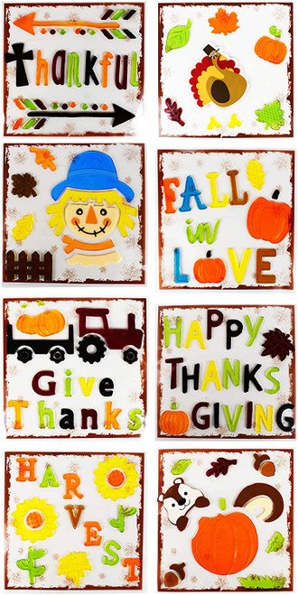 Set of Gel Window Stickers - Fall Harvest Theme - Tractors, Scarecrows, Pumpkins, and More!