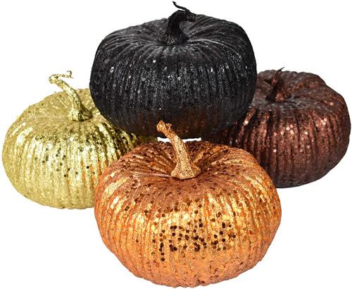 Set of Glittery Foam Pumpkins! Great for Halloween/Seasonal Decoration - Black, Brown, Gold, and Orange!