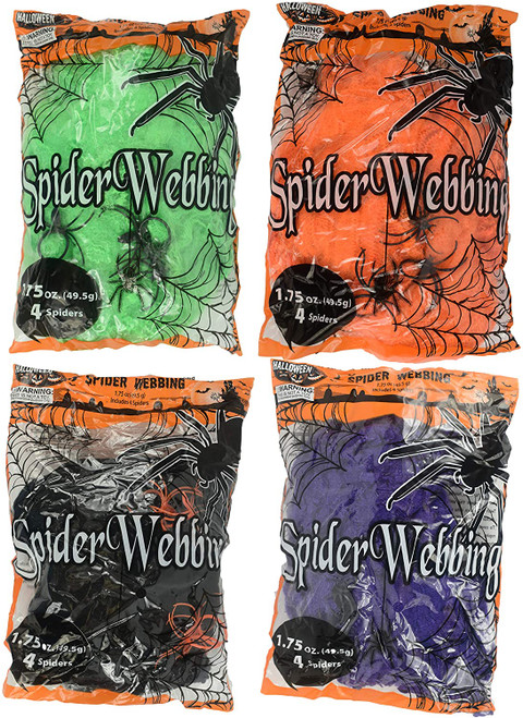 Set of Spooky Stretchy Neon Colored Spider Webs! Green, Purple, Orange, Black! Perfect for Your Next Halloween Gathering!