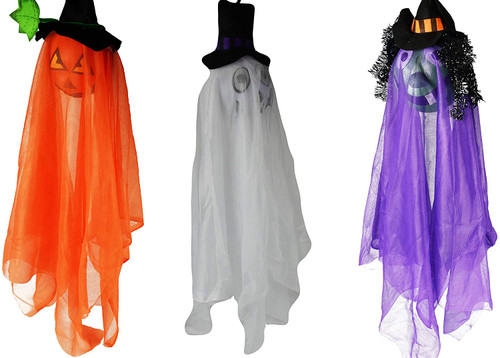 Set of Spooky Hanging Light Up Halloween Characters! Witch, Pumpkin, and Ghost Halloween Decorations!