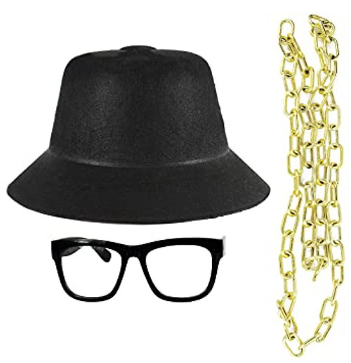 Set of Old School Rapper Hat, Bling and Glasses! One Size Fits All! Classic Hip Hop Kit!