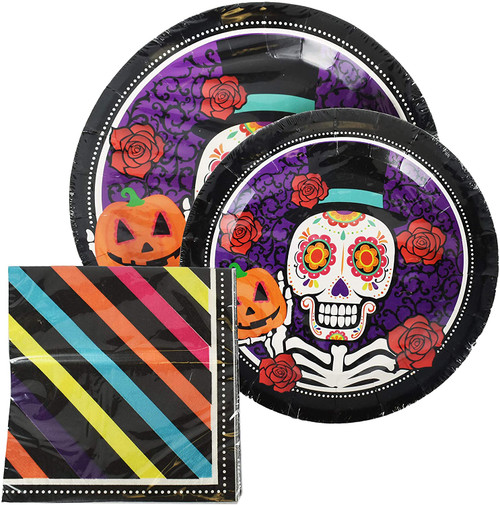 Set of Paper Party Goods! Great for Parties During the Halloween Season! Large Plates, Small Plates, and Napkins!