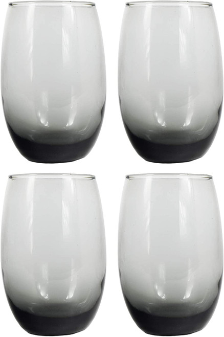 Set of 4 Gray Ombré Stemless Wine Glasses - Great for Gifts for to Update Your Wine Rack! - Matches Beautifully into Many Themes! - 15 floz