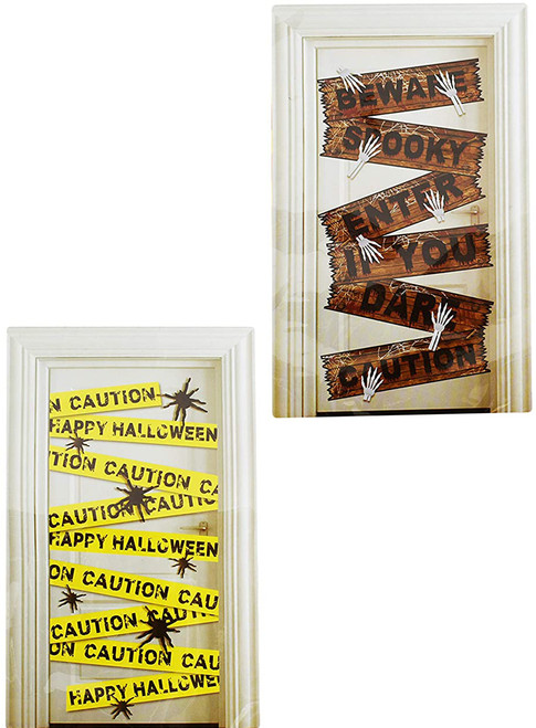 Set of Halloween Door and Window Covers! Caution Tape - Boarded Up Window and Door Cover Decorations!