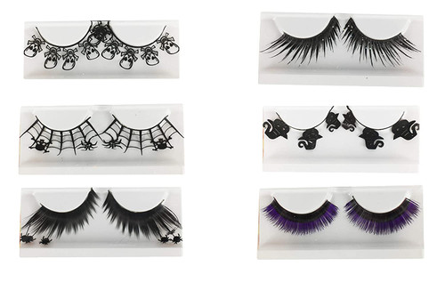 Set of False Lashes! 6 Spooky Styles! Incredible Lengths! Extra Long Lashes! Perfect for Halloween, Photo-shoots, Parties, and More!