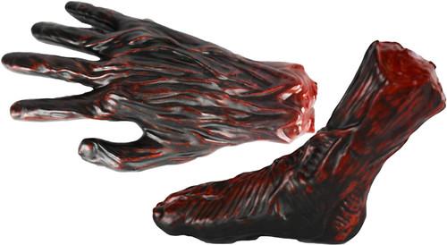 Set of Creepy Severed Foot and Hand! Rotting Severed Limb Prank Halloween Decorations!