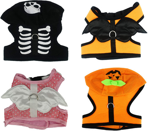 """Set of Halloween Dog Costume! Fits 6"""" to 9"""" - Pumpkin, Angel, Skeleton, and Fairy Costumes! - Built in Harness"""