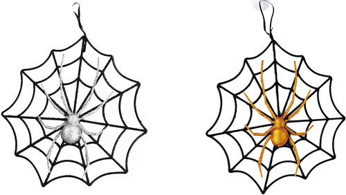 """Set of Halloween Webs with Glitter Spiders! Hanging 10"""" Window Web Decoration!"""