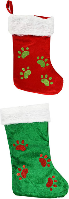 """Set of 2 18"""" Stockings With Paw Prints! Red&Green"""