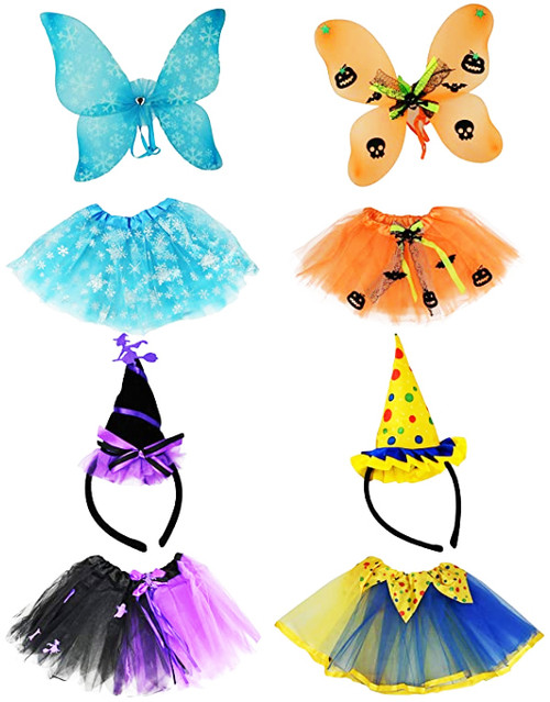 Set of Tutu Costume Sets! Ice Princess, Witch, Clown, and Pumpkin Patch Fairy! Each Set Features 2 Pieces!