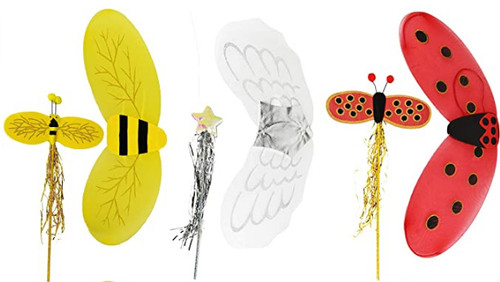 Set of Jumbo Costume Wings & Wands! Angel, Bumble Bee, Ladybug Wings!
