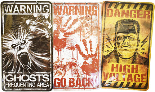 Set of 3 Different Creepy Halloween Signs! Spooky Decorative Halloween Signs Perfect for Parties and Trick or Treaters!